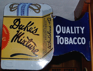 Click photo to see larger pic of Porcelain Enamel Tobacco Flange-Style Advertising Sign