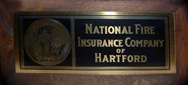 Click photo to see larger pic of Brass Framed Insurance Advertising Sign