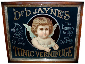 Click photo to see larger pic of Reverse Glass Patent Medicine Advertising Sign