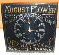 Click photo to see larger pic of Reverse Glass Patent Medicine Advertising Clock