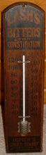 Click photo to see larger pic of Wooden Bitters Advertising Thermometer