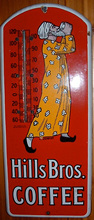 Click photo to see larger pic of Porcelain Enamel Coffee Advertising Thermometer