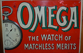 Click photo to see larger pic of Tin Watch Advertising Sign