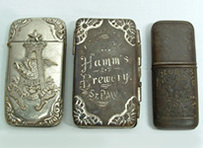 Click photo to see larger pic of Pre-Prohibition Beer Advertising Pocket Match Safes