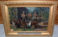 Click photo to see larger pic of Pre-Prohibition Beer Lithograph on Canvas