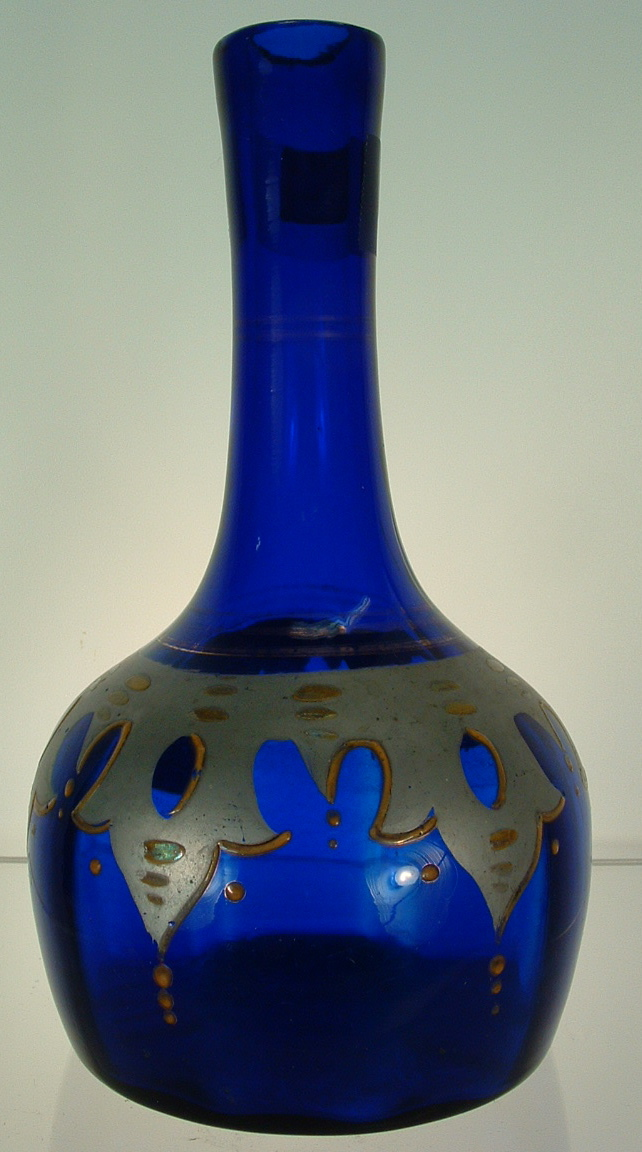 COBALT PERSIAN STYLE DECORATION BARBER BOTTLE