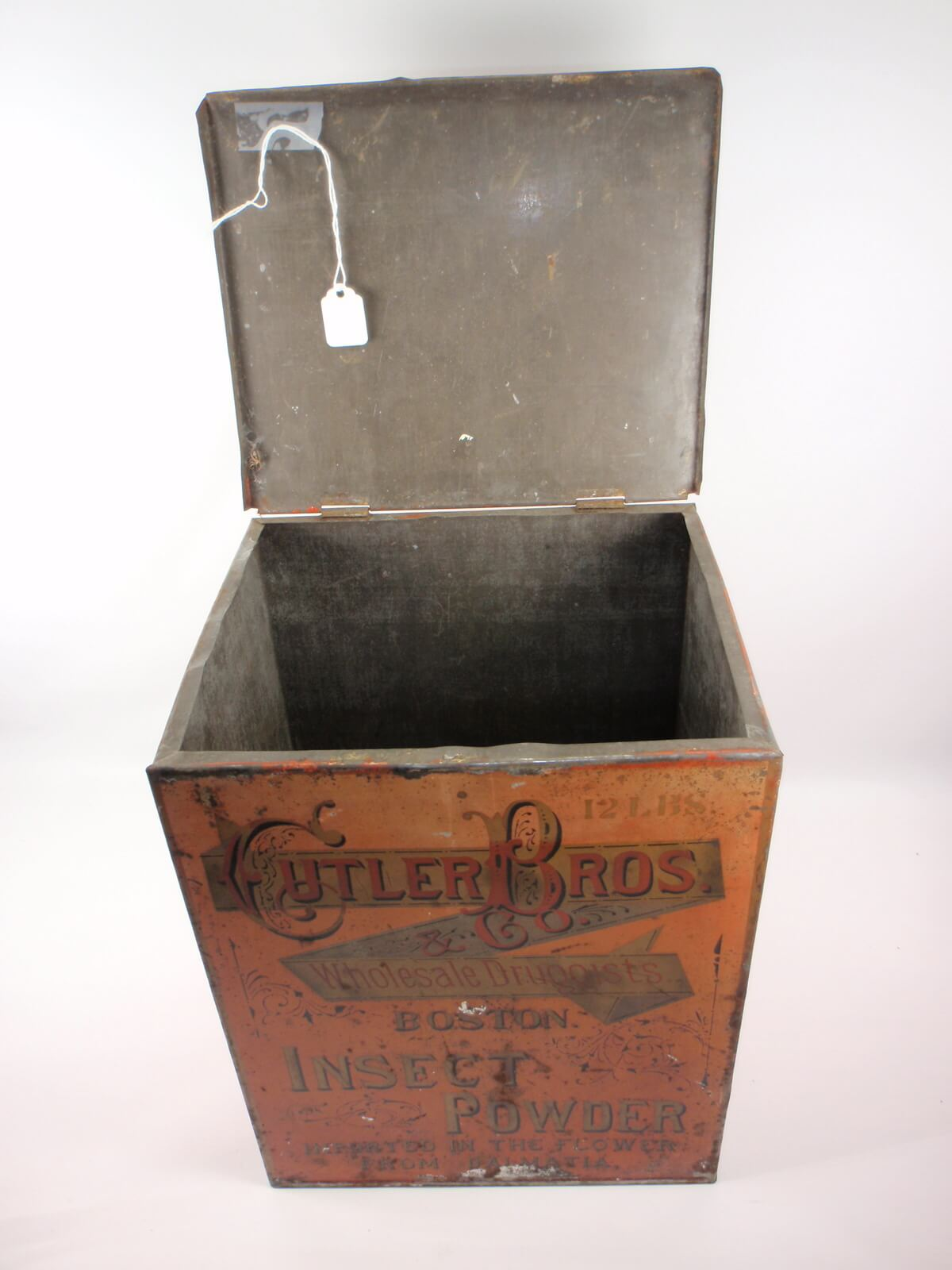 EARLY CUTLER BROS. BOSTON INSECT POWDER TIN STORE BIN