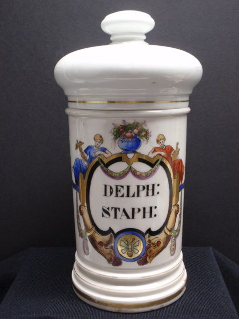 Hand-Painted French Porcelain Apothecary Jar