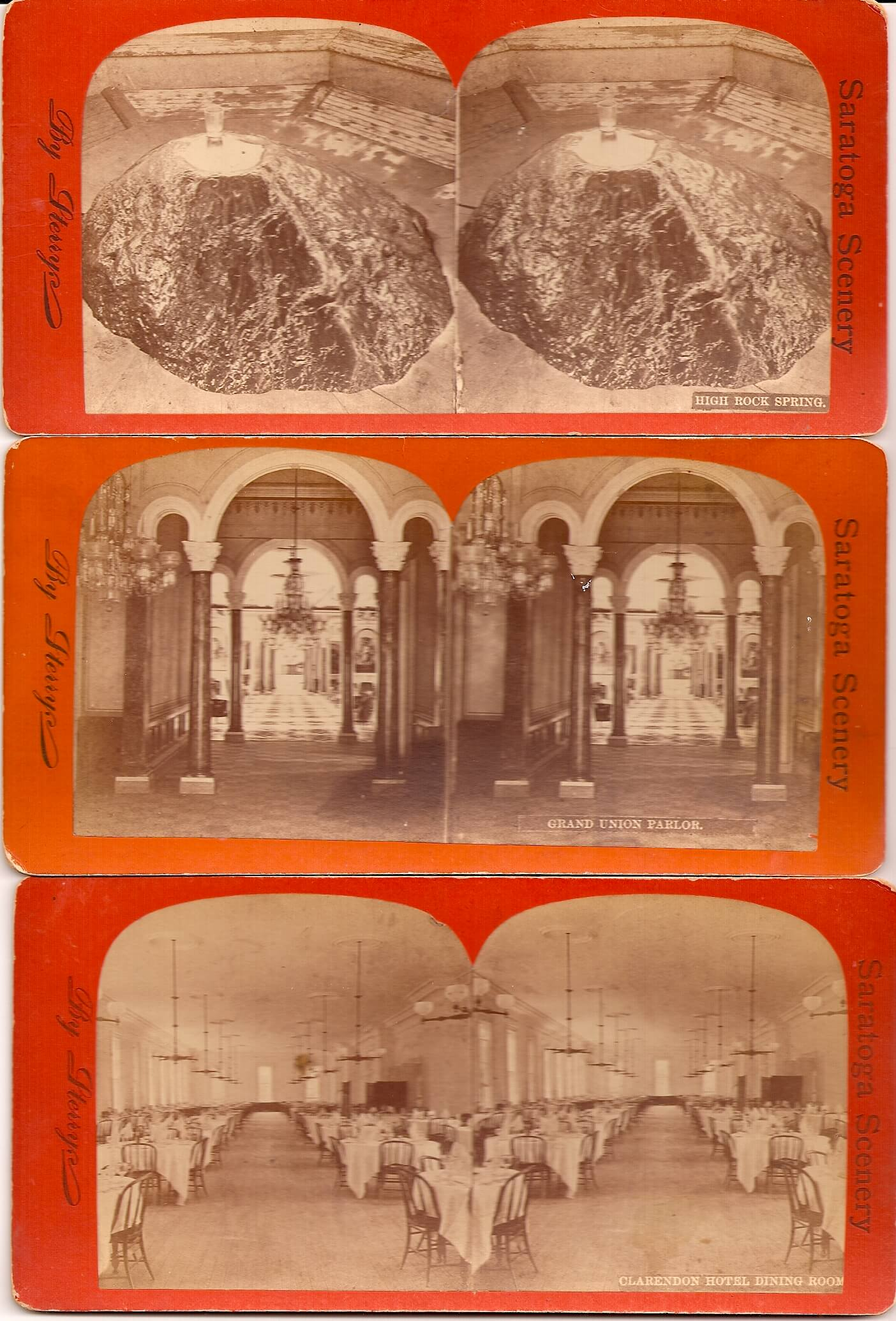 SARATOGA NEW YORK STEREOVIEW CARDS